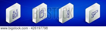 Set Isometric Line Bulletproof Vest, Police Assault Shield, Electric Shocker And Icon. Vector