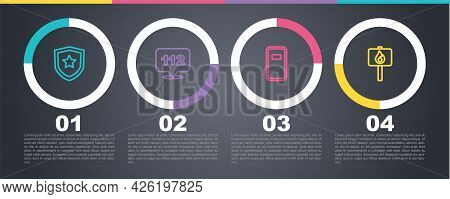 Set Line Police Badge, Telephone Call 112, Assault Shield And Protest. Business Infographic Template