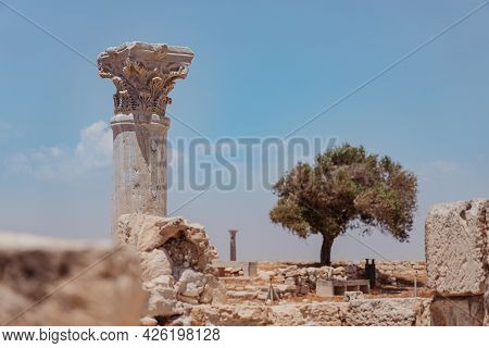 The Column And Ruins Of Early Christian Basilica At The Kourion World Heritage Archaeological Site N