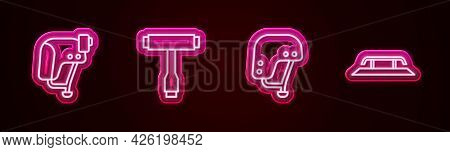 Set Line Skateboard Helmet, T Tool, And Stairs With Rail. Glowing Neon Icon. Vector