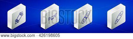 Set Isometric Line Longboard Or Skateboard, Skateboard Wheel, Broken Deck And Icon. Vector