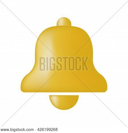 Golden Notification Bell Vector Icon Isolated On White Background. Alarm Symbol, Service Bell, Handb