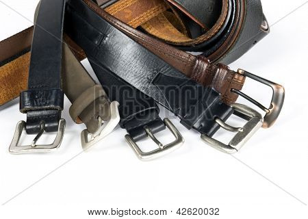 Mens belts isolated on white background.