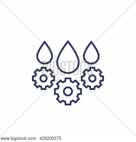 Lubricant, Oil Drops Line Icon On White