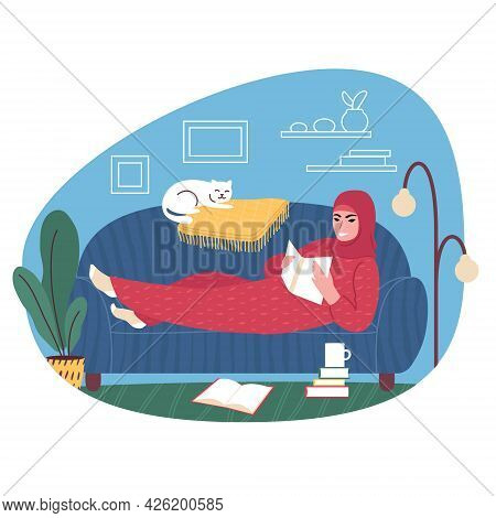 Young Woman Wearing A Headscarf On A Sofa At Home Reading A Book. Vector Illustration.