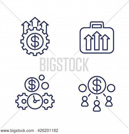 Capital, Money And Portfolio Growth Line Icons