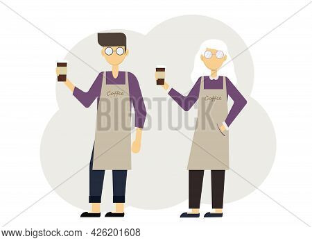 Vector Illustration Of Two Baristas Man And Woman With Glasses Of Coffee And In Uniform With Aprons