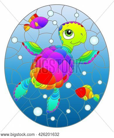 Illustration In The Style Of Stained Glass With Bright Cartoon Turtle On The Background Of The Sea F