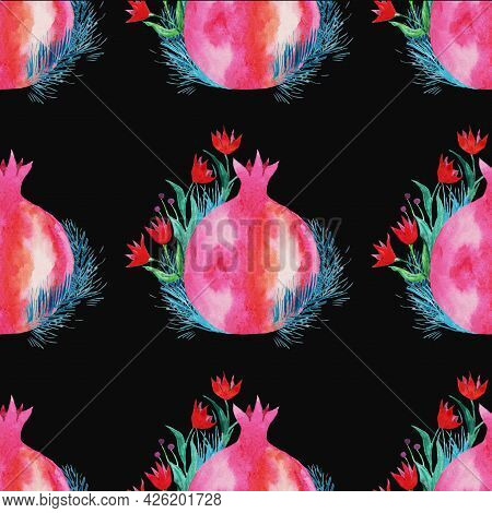 Red Pomegranate With A Sprig Of Thyme And Small Red Flowers With Green, Blue Petals, Abstract, Frame