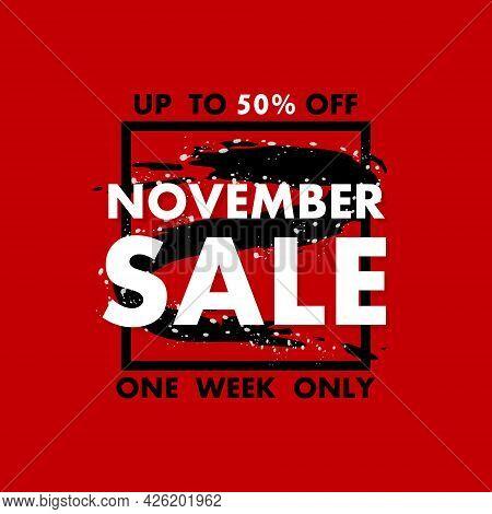 Card With November Sale Banner On Red Background For Promotion Design. Sale Banner. Special Offer Pr