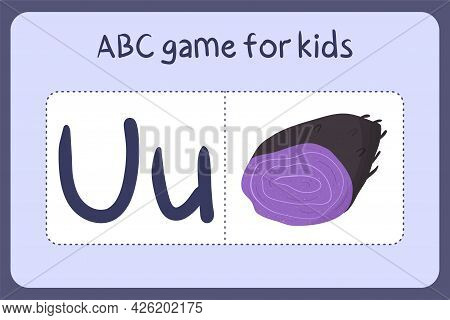 Kid Alphabet Mini Games In Cartoon Style With Letter U - Ube. Vector Illustration For Game Design -