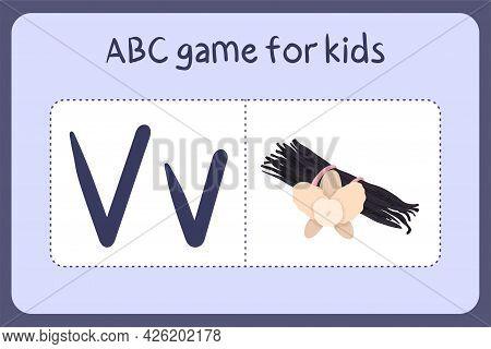 Kid Alphabet Mini Games In Cartoon Style With Letter V -vanilla. Vector Illustration For Game Design