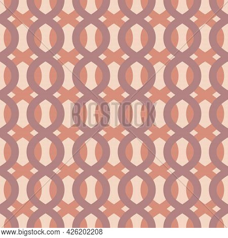 Vector Abstract Geometric Seamless Pattern With Wavy Lines, Curved Shapes, Chains, Stripes. Simple B