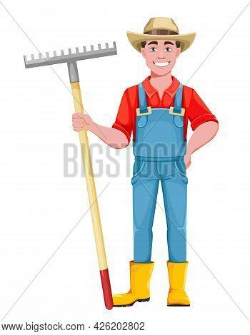 Handsome Man Farmer. Cheerful Male Farmer Cartoon Character With Rake. Stock Vector Illustration On