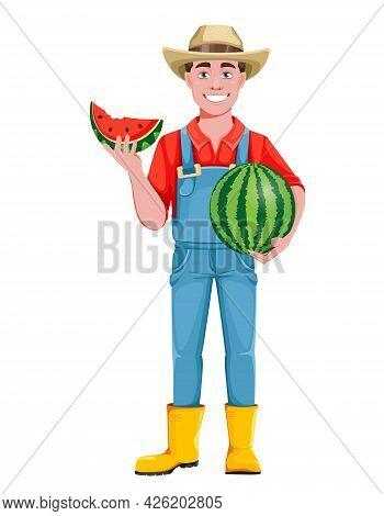 Handsome Man Farmer. Cheerful Male Farmer Cartoon Character Holding Juicy Watermelon. Stock Vector I