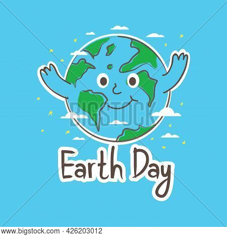 Happy Earth Day Illustration With Cute Cartoon Earth