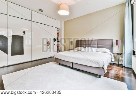 Amsterdam, Netherlands - 27 May, 2021: Luxury Bedroom Of House In Beautiful Design