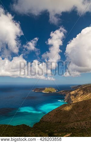 A Top View At Asos Village, Assos Peninsula And Fantastic Turquoise And Blue Ionian Sea Water. Aeria