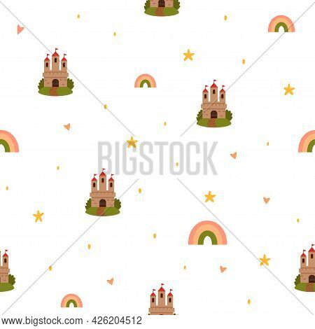 Seamless Vector Pattern With Castle, Stars And Rainbow Isolated On A White Background. Fairy Tale Pa