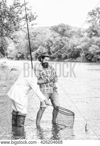 Make Money From Idea Concept. Hobby Of Businessman. Retirement Fishery. Happy Fishermen. Good Profit