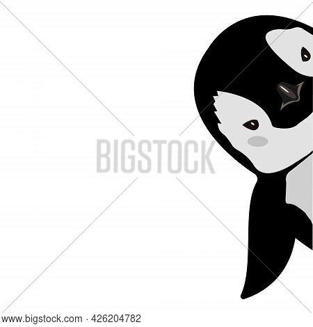 Cute Penguin Cartoon Flat Design Vector Illustration. Baby Penguin.