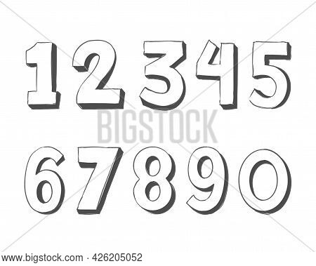 Hand Drawn White Vector Numbers - Vector