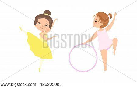 Cute Little Ballerinas Dancing Set, Adorable Little Girls Training At Lesson Wearing Tutu Dress Cart