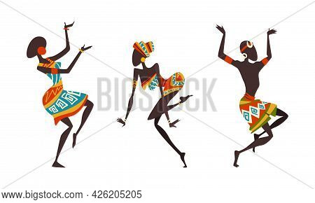 Set Of African People Dancing Ethnic Dance Set, Aborigines In Bright Traditional Clothing Performing