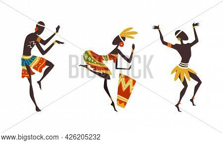 Set Of African People Dancing Ethnic Dance And Playing Drum Set, Man And Woman In Bright Traditional