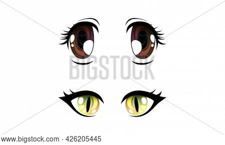 Beautiful Brown And Green Eyes With Shiny Light Reflections Set, Cute Expressive Eyes In Anime Manga