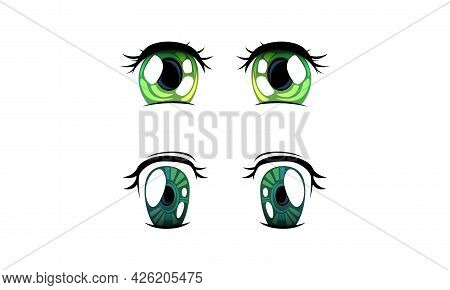 Beautiful Green And Blue Eyes With Shiny Light Reflections Set, Expressive Eyes In Anime Manga Style