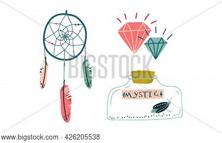 Dreamcatcher And Glass Jar With Insect As Witchcraft Object For Spells And Performing Magical Ritual