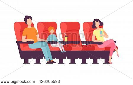 Man With Kid And Woman Sitting In Cinema Or Movie Theater Viewing Film For Entertainment Vector Illu