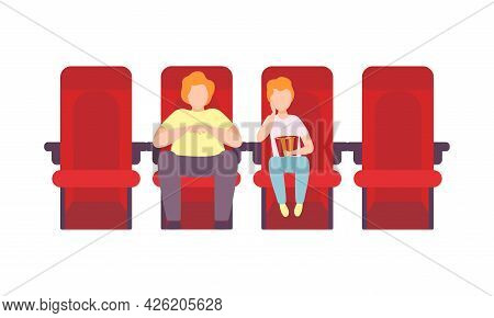 Man With Kid Sitting In Cinema Or Movie Theater Viewing Film For Entertainment Vector Illustration