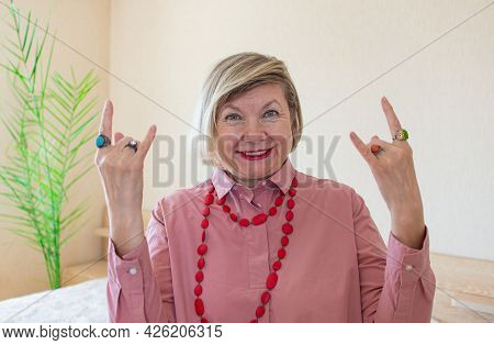 Women Senior Doing Funky Action Gray Hair Woman, Middle Aged Smile Old Woman Wearing Glasses At Home