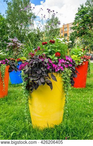Urban Landscapening.large Flowerpots Adorning The City Park