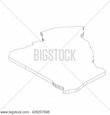 Algeria - 3d Black Thin Outline Silhouette Map Of Country Area. Simple Flat Vector Illustration.
