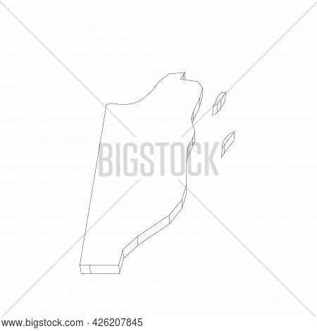 Belize - 3d Black Thin Outline Silhouette Map Of Country Area. Simple Flat Vector Illustration.