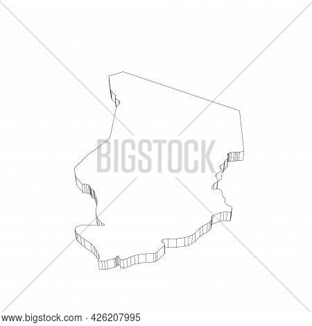 Chad - 3d Black Thin Outline Silhouette Map Of Country Area. Simple Flat Vector Illustration.