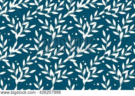 Vector Floral Seamless Pattern In Natural Farmhouse Style With Cute Simple Branches, Berries, Leaves