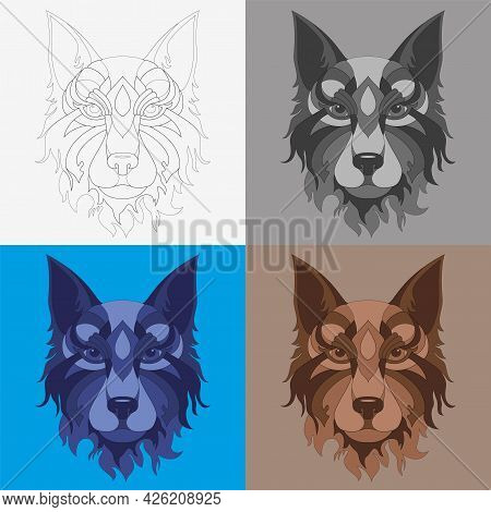 The Illustration Is A Stylized Muzzle Of A Dog, Four Versions: Warm, Cold, Monochrome And Contour.