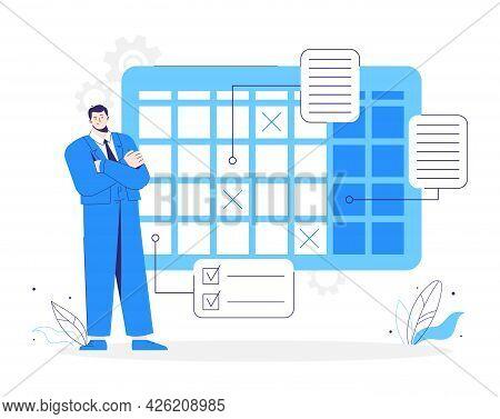 Man Stands Near A Calendar. Business Planning Schedule. Character Plans His Job.