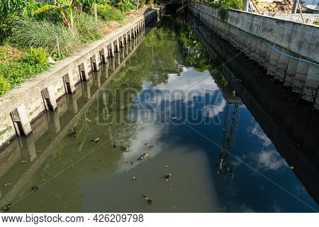 Dirty Waste Dark Black Stink Bad Water Smell From City Under Water Pollution Process Sewer Drain Pip