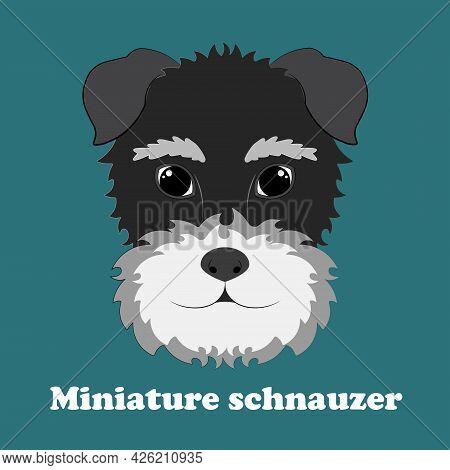 Miniature Schnauzer. Print With Cute Cartoon Puppy