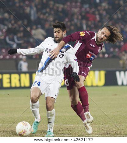 CLUJ-NAPOCA, ROMANIA - FEBRUARY 21: Marco Benassi and Felice Piccolo in UEFA Europa League match, CFR 1907 Cluj vs UInter Milan, on 21 February, 2013 in Cluj-Napoca, Romania
