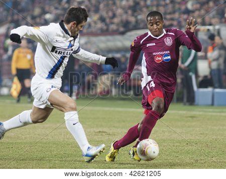 CLUJ-NAPOCA, ROMANIA - FEBRUARY 21: Javier Zanetti and Robert Maah in UEFA Europa League match, CFR 1907 Cluj vs UInter Milan, on 21 February, 2013 in Cluj-Napoca, Romania