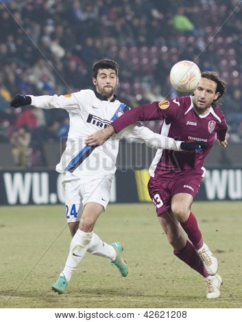 CLUJ-NAPOCA, ROMANIA - FEBRUARY 21: Marco Benassi and Felice Piccoloi in UEFA Europa League match, CFR 1907 Cluj vs UInter Milan, on 21 February, 2013 in Cluj-Napoca, Romania