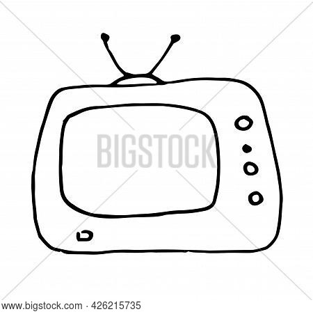 Vector Retro Tv. A Rectangular Tv With An Antenna And Buttons. Hand-drawn Doodle In The Style Of An