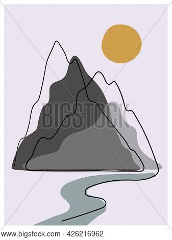 Mountain Landscape Wall Art. Abstract Minimalist Poster With Mountains And Sun