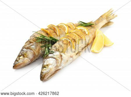 Tasty Homemade Roasted Pike Perches With Rosemary And Lemon On White Background. River Fish